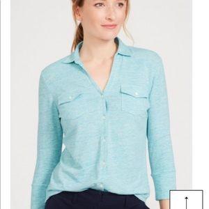 J McLaughlin shirt in misty aqua color. The BRYNN